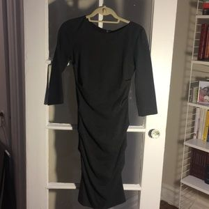 Grey ruched three-quarter sleeve office dress